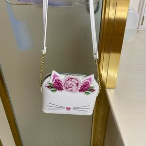 Betsy Johnson kitty floral crown bag